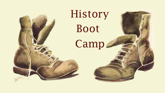 "Pair of boots with ""History Boot Camp"" text"