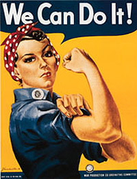 """Iconic """"We Can Do It!"""" poster with woman in denim shirt and red bandana showing her bicep."""
