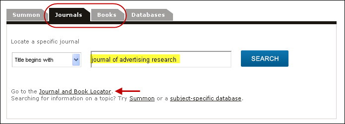 Example search in Journal and Book Locator