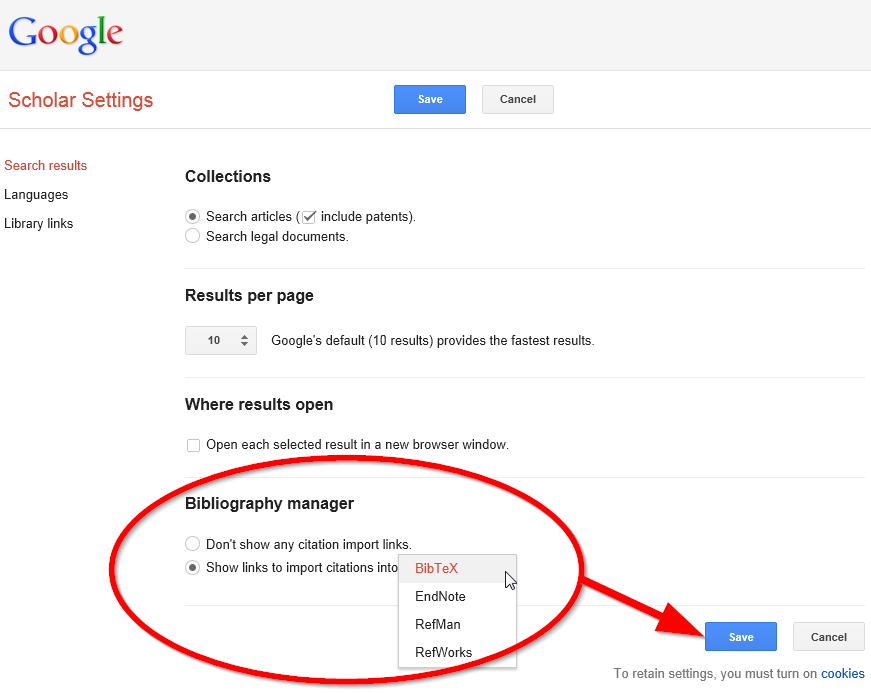 google scholar citation manager settings