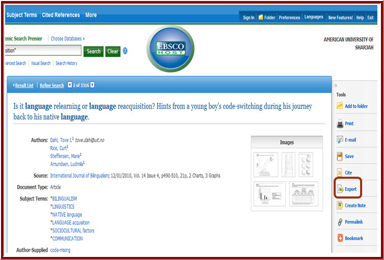 screenshot of Ebscohost result page and export link