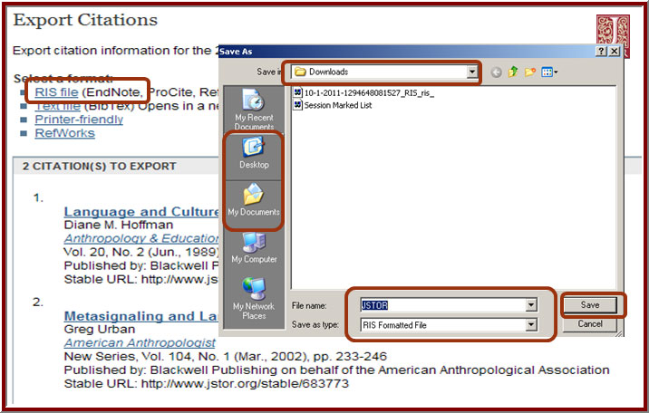 screenshot of JSTOR webpage and export feature