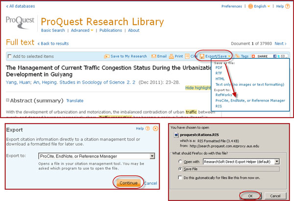 "In a ProQuest Article, click Export/Save, select ""Endnote"", Click ""Continue"", then save the RIS formatted file to your computer."