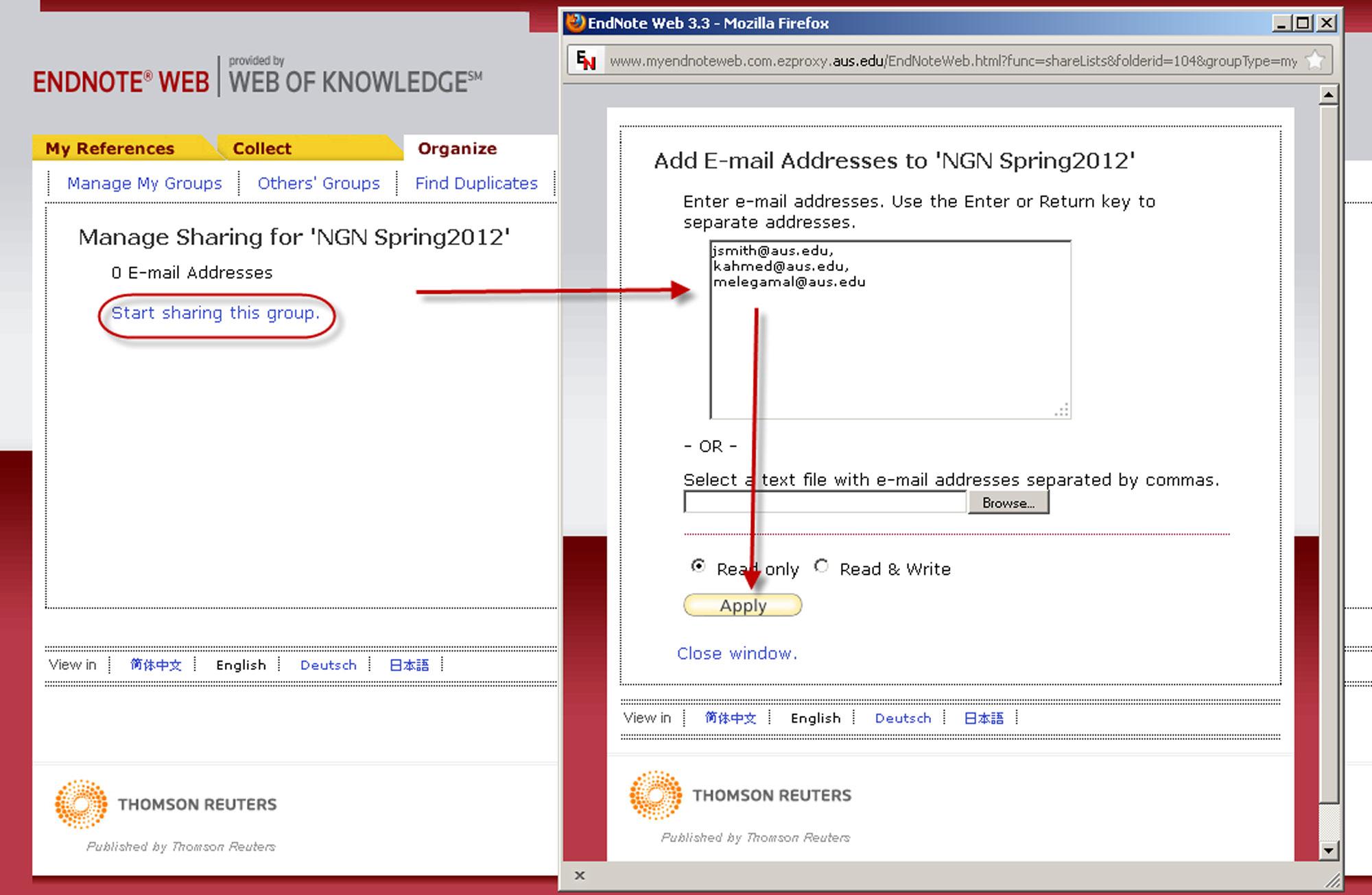screenshot of endnote web describing start sharing link