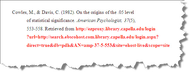 Screenshot of citation with persistent link rather than DOI.