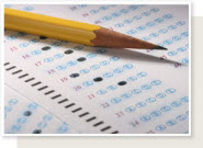 Picture of pencil and standardized test.