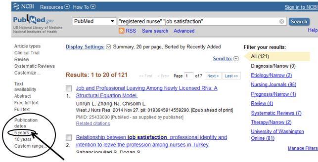 PubMed Date Filter