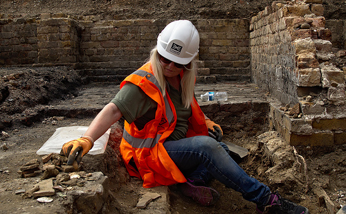 Archaeologist at work on a site
