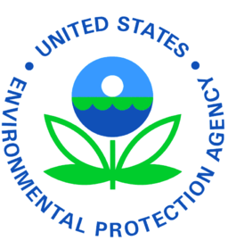 the logo of the environmental protection agency: a flower shaped plant, but in place of the flower is small medallion with the sun rising over waves all in a minimalist style.