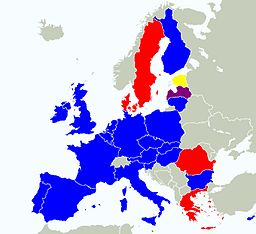 Map of Europe with some countries shaded describing the European Parliament Election 2009