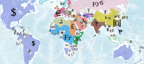 a world map where each country is represented by its currency symbol.