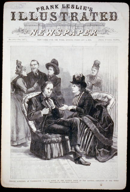 the cover page of Frank Leslie's Illustrated Newspaper. The cover image features two clusters of people each lobbying a congressman.