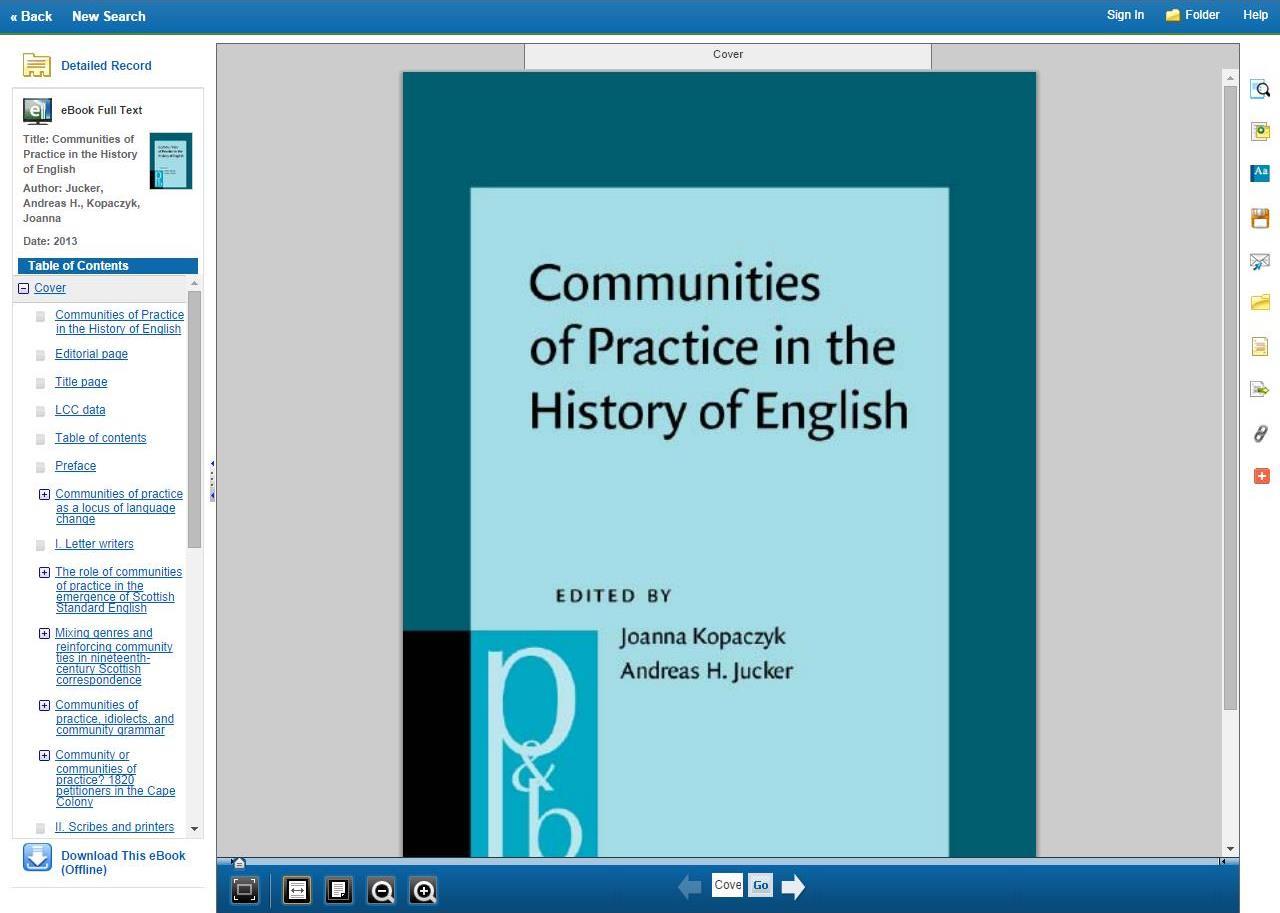 Screenshot of an eBook in EBSCO's online reading environment