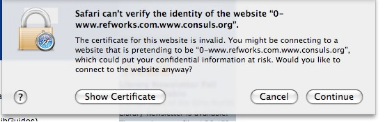 Safari Security Certificate Warning