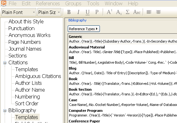 EndNote Library screenshot