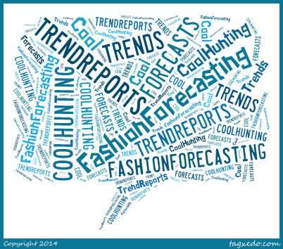 Collage of words including trends and forecasts, etc.