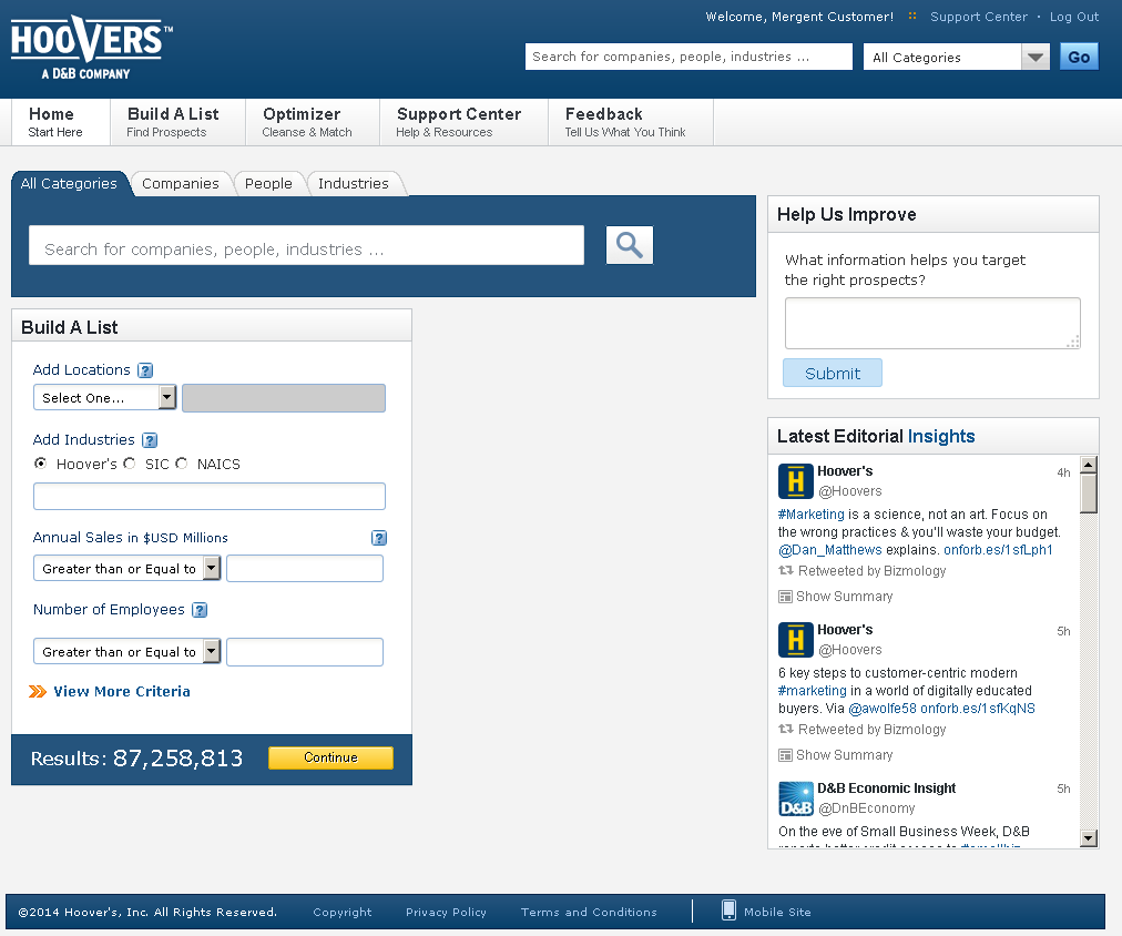 Hoovers database screenshot