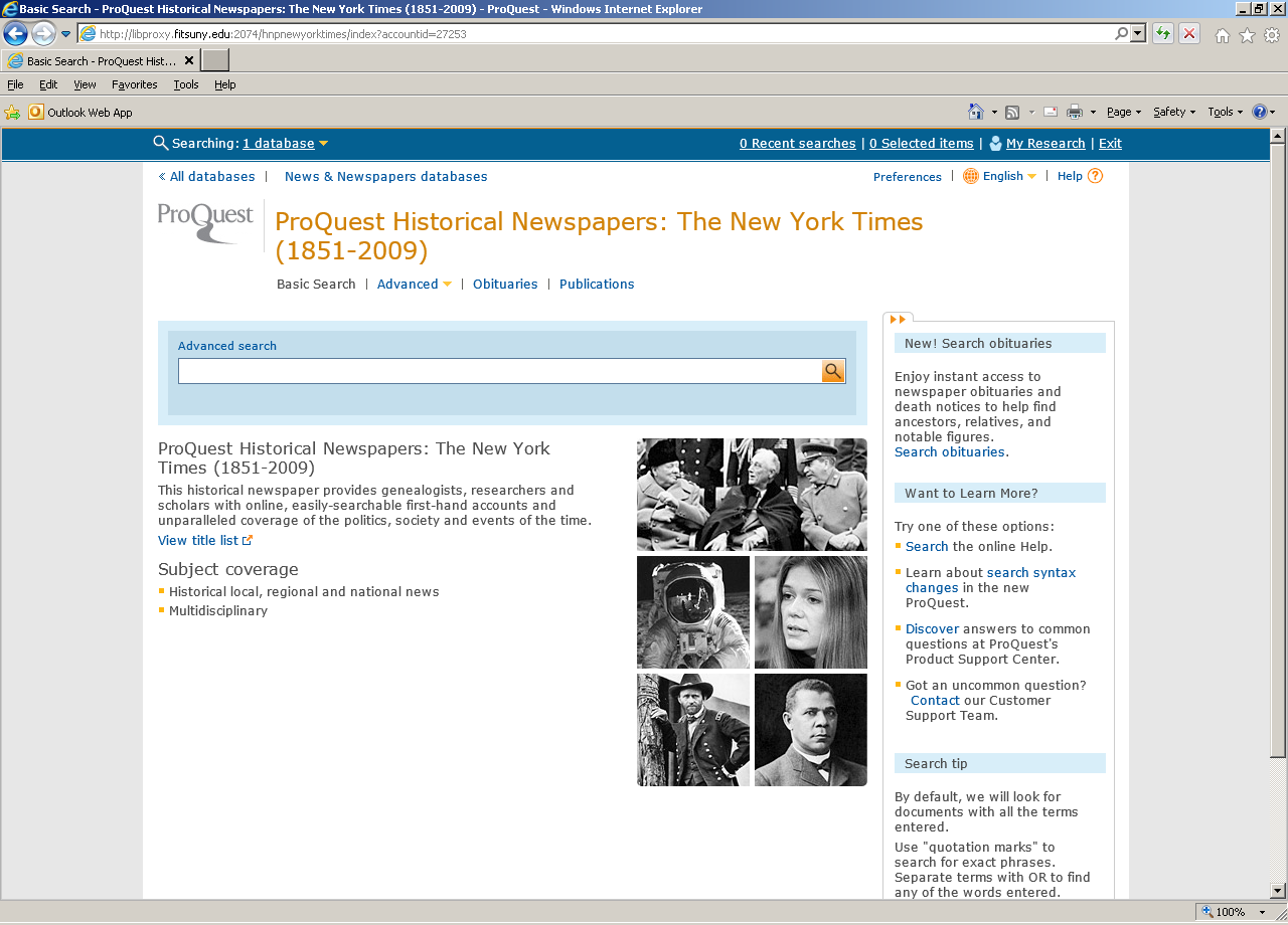 new york times historical search page