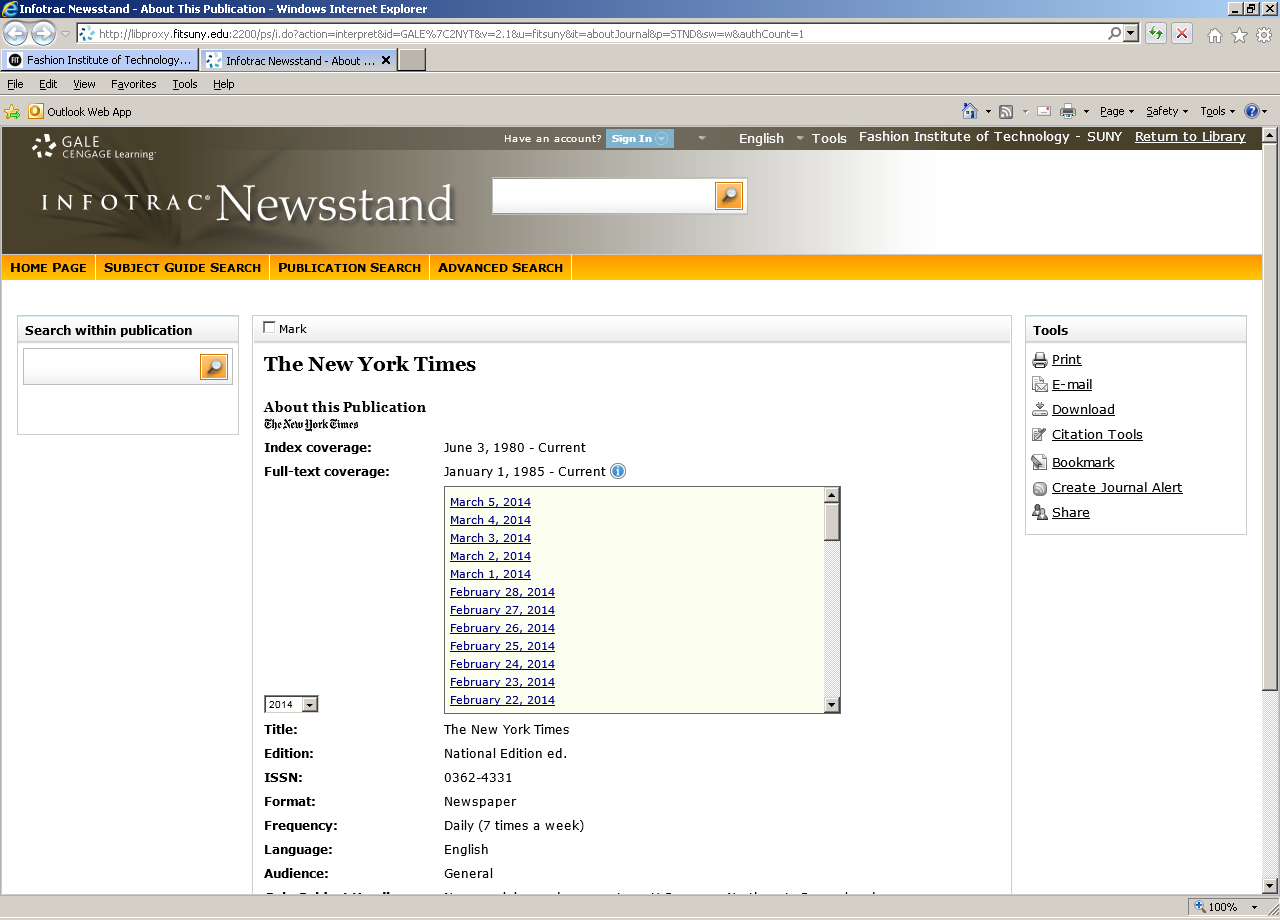Infotrac newsstand search page