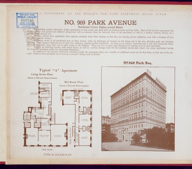 Page from NY apartment house album showing building photo and floor plan