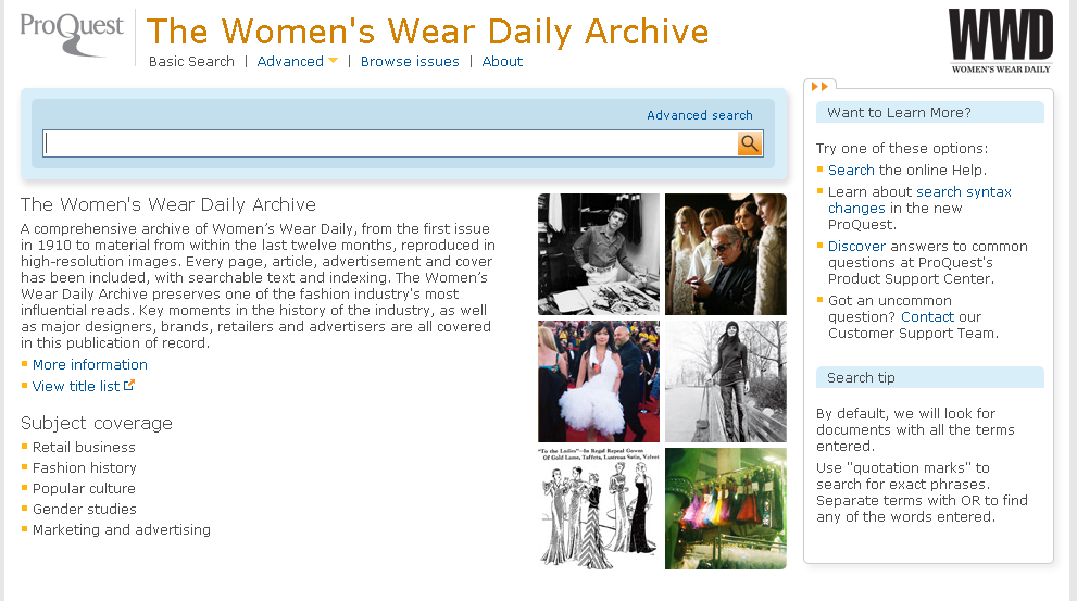 Sample screenshot from The Women's Wear Daily Archive