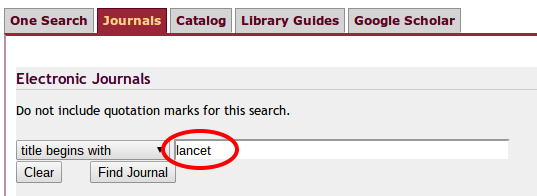 Use the ASU Library 'Journal' search to search for a specific journal title - the journal search is the journal tab on the myasu or libraries home page search box