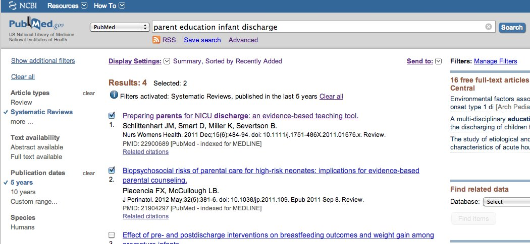 Marked references in PubMed results list