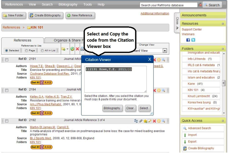 Screen shot of code in citation view pop up after clicking on gold brackets for a reference