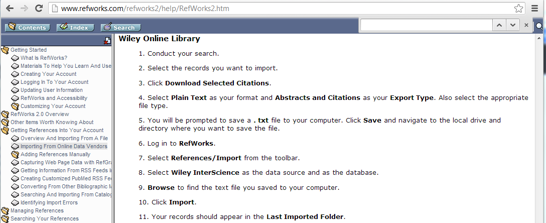 RefWorks instructions to add references from Wiley Online Library - company for Cochrane Library