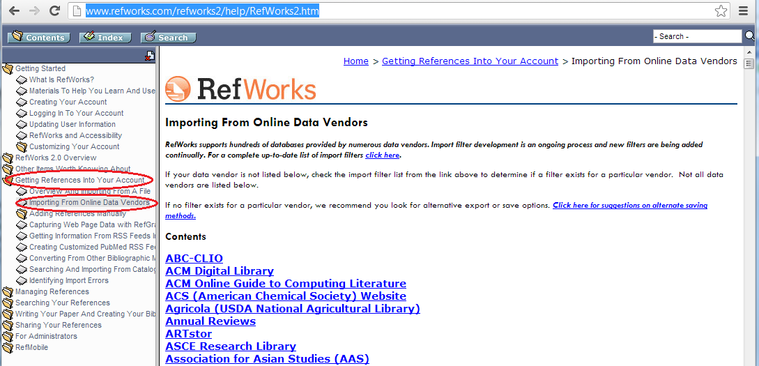 full list of adding references to RefWorks from many databases