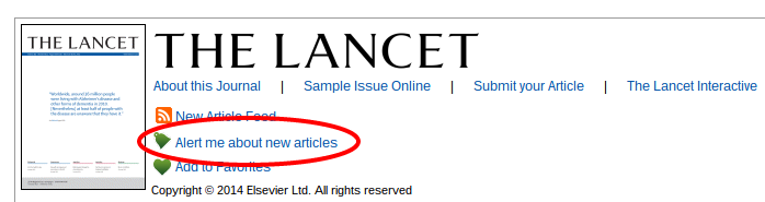From the Science Direct journal page of Lancet, click on 'Alert me about new articles'