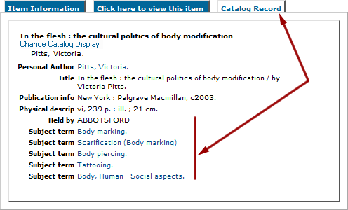 Subject terms in library catalogue