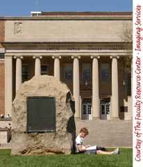 photo of stone memorial outside of Gorgas Library