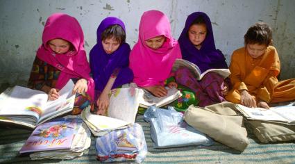 Kashmiri refugees in school. Pakistan.