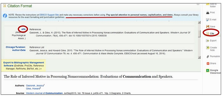 screenshot of citation help for article in EBSCO database
