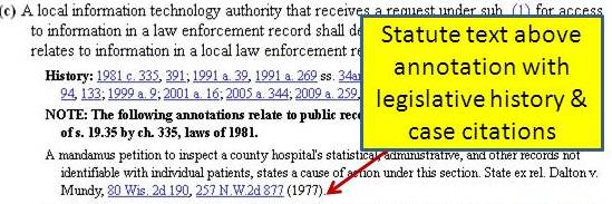 Excerpt of anotation to Wisconsin Statute