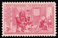 This stamp was issued in 1952 to commemorate the 200th birthday of Betsy Ross.