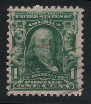Franklin One Cent Stamp Issued in February 1903,