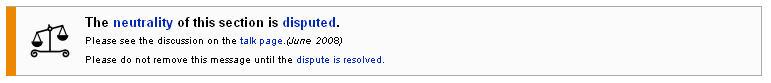 Wikipedia neutrality warning
