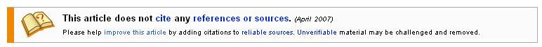 Wikipedia no citations warning