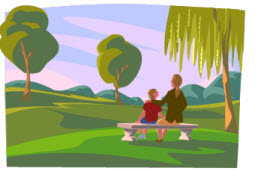 Clipart image of two people sitting on a bench overlooking a park.