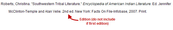"Roberts, Christina. ""Southwestern Tribal Literature."" Encyclopedia of American Indian Literature. Ed. Jennifer McClinton-Temple and Alan Velie. 2nd ed. New York: Facts on File-Infobase, 2007. Print."
