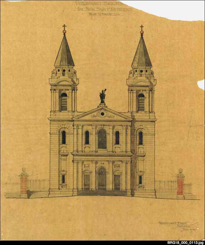 Architectural plan of St Patrick's Church, Grote St