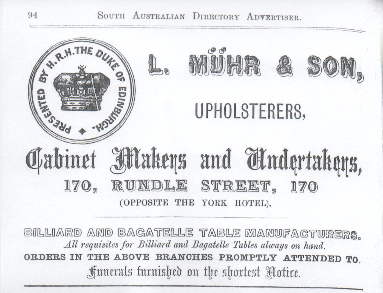 Advertisement from Adelaide Almanac & Directory for South Australian, 1876 by Josiah Boothby