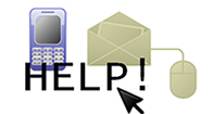 Image of a phone, email and instant messanger icons