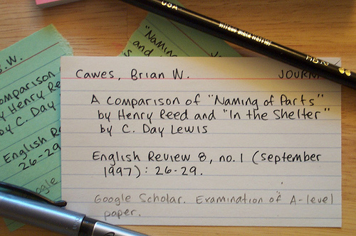 index card with citation notes