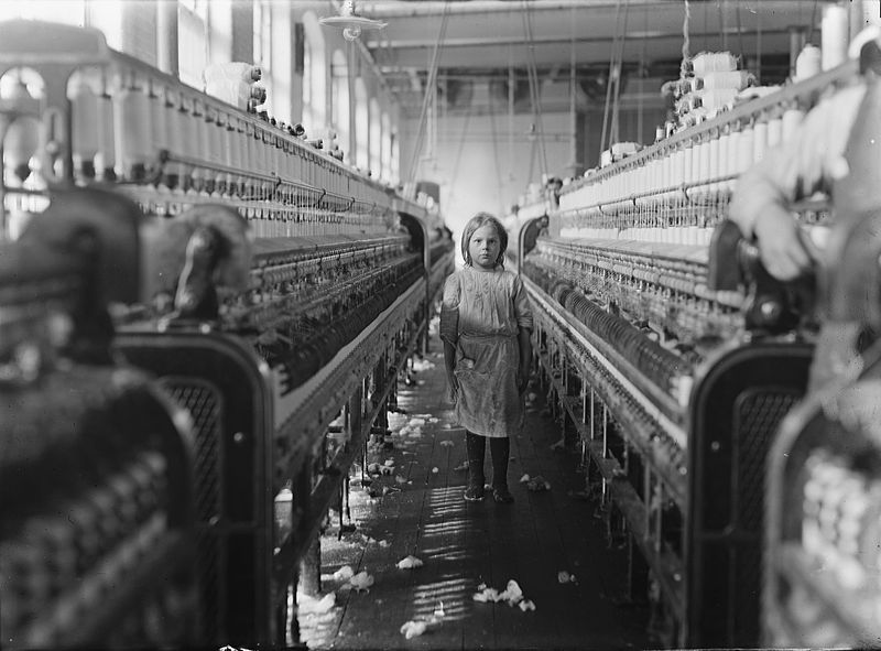 """Lewis W. Hine, """"A little spinner in the Mollohan Mills, Newberry, S.C."""" National Child Labor Committee collection at the Library of Congress."""