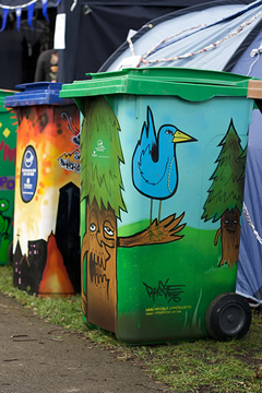 Decorated wheelie bins