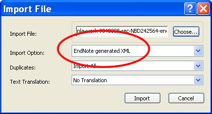 Pop up Import File with Import Option Endnote generated XML circled.