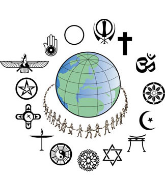 Image of globe surrounded by people and symbols of various religious faiths